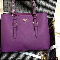 Сумка Прада модель Double 35 см натуральная кожа цвет фиолетовый, Люкс копия