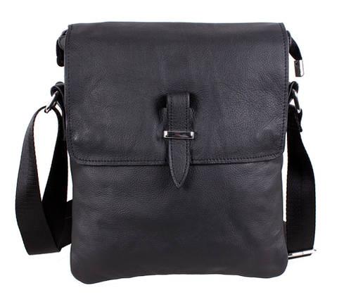 304dea3b56f9 Повседневная мужская сумка-мессенджер из натуральной кожи черная, фото 2