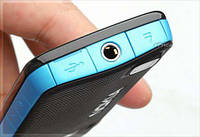 Корпус для Nokia 5220 Xpress Music, High Copy, черный с голубым