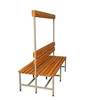 Скамейка для раздевалки, с спинкой и вешалкой с крючками, двухсторонняя 2СВ