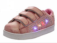АКЦИЯ! Кроссовки ДЕТСКИЕ на девочку со светодиодной подсветкой Размеры 25-30