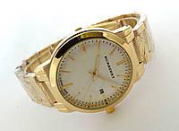 Часы унисекс Burberry - золотистые с белым циферблатом