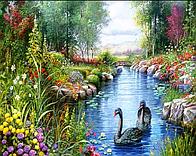"""Алмазная вышивка размер изображения 40х30 - набор """"Лебеди на пруду"""" Художник Andres Orpinas"""