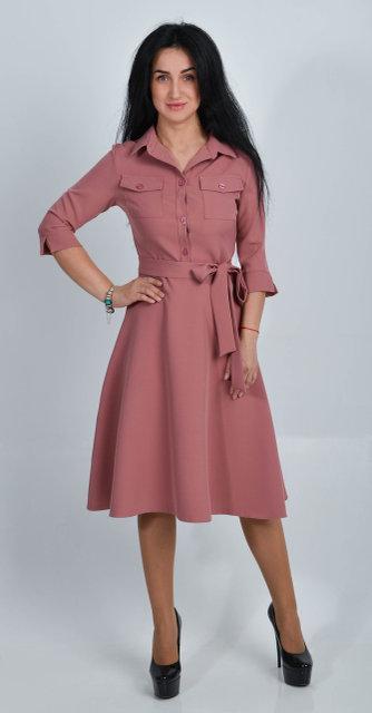Элегантное платье миди из костюмного крепа