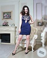 Нарядное красивое синее платье без рукавом с телесными вставками
