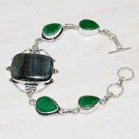 Красивый браслет с изумрудом и лабрадором. Браслет с натуральным камнем изумруд + лабрадор в серебре., фото 1