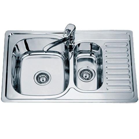Кухонная мойка двойная из нержавеющей стали врезная TRION 7850 Овощная Декор 0.8 mm