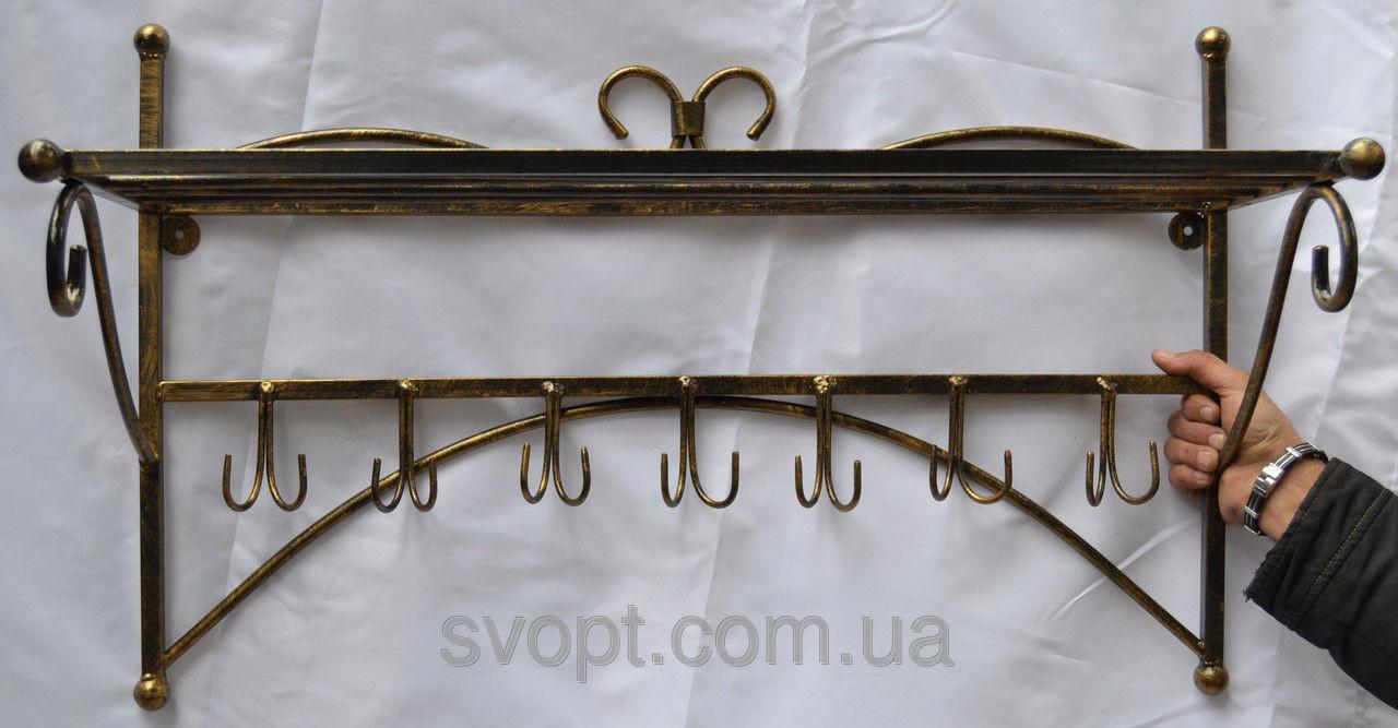 Кованая вешалка настенная с полкой для головных уборов 70х30