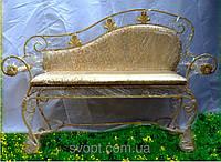 """Кованый диван """"арфа Gold"""" с большой мягкой спинкой"""