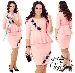 Элегантное платье дайвинг + цветы 3д - декорированные жемчугом., фото 2