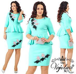 Элегантное платье дайвинг + цветы 3д - декорированные жемчугом., фото 3