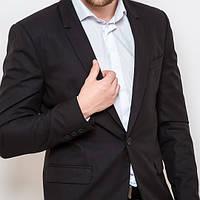 Мужской классический приталенный пиджак молодежный черный