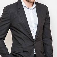 Мужской классический приталенный пиджак молодежный угольный