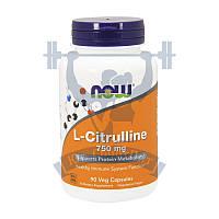 NOW L-Citrulline 750 mg цитрулин аминокислота для тренировок для дампа для роста мышц спортивное питание