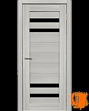 Межкомнатные двери Мастер 636 ПО с черным стеклом (сандал серый)