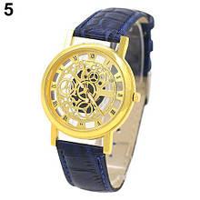 """Часы мужские наручные """"Скелетон"""" синие"""