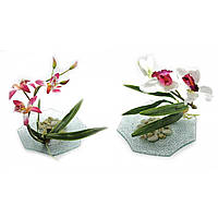Цветок орхидеи на стеклянной подставке (d-18,5 см) ( 18792)