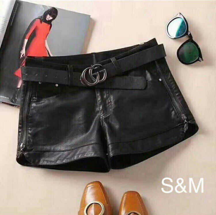 e5320ad8d1ca Женские кожаные шорты с молниями по бокам - купить по лучшей цене в ...