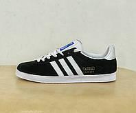 Мужские кроссовки Adidas Originals Gazelle Super Black/Vintage черные замшевые