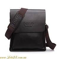 Мужская кожаная сумка POLO Коричневая + нож кредитка + мультитул