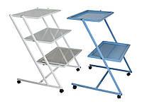 Стол для медицинского оборудования MEDOK на колесах (стекло 3 полки)
