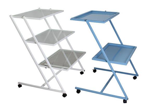 Стіл для медичного обладнання MEDOK на колесах (метал 2 полиці), фото 2