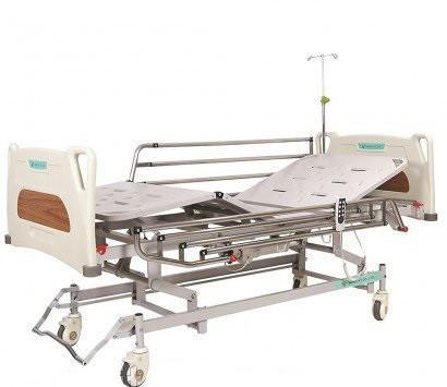 Ліжко з електроприводом 4х-секційне з посиленими колесами. Комплект: матрац, надліжковий тримач, штатив для
