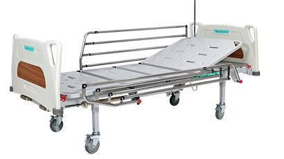 Ліжко функціональне механічне 4х-секційне на колесах. Комплект: матрац, надліжковий тримач, штатив для крапельниці, поручні, фото 2