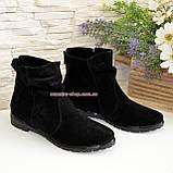 Зимові жіночі замшеві черевики на низькому ходу, фото 4