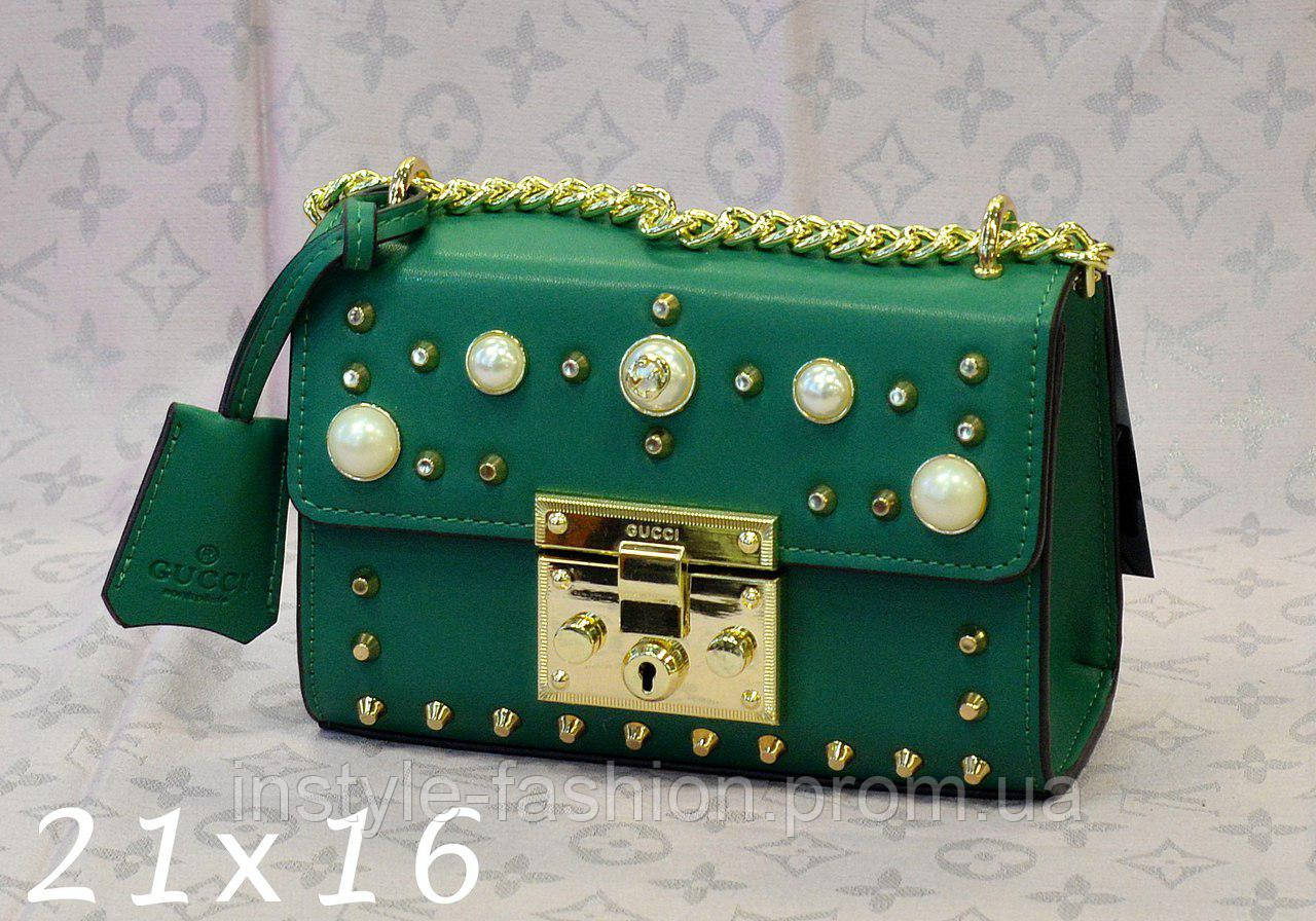 Сумка-клатч на цепочке Gucci Гуччи зеленая
