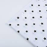 Ткань бязь с чёрными звёздочками 15 мм на белом фоне, плотность 125 г/м2,  №1271а, фото 4