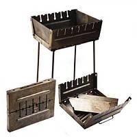 Мангал чемодан коричневый на 6 шампуров ( железный мангал )