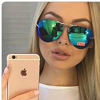 Очки Ray Ban стекло, очки капля,цвет зеленый, фото 1