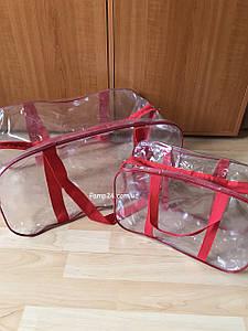 Набор из 2 прозрачных сумок в роддом - Маленькая и большая - Красные