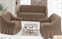 Чехол на диван и 2 кресла, Турция с оборкой
