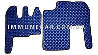Автомобильные ковры из экокожи Renault Magnum синего цвета
