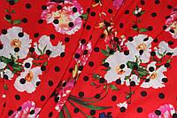 Ткань креп шифон красный цветы горох