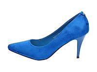 Синие женские туфли на шпильке 160845 40,39,38,37,36