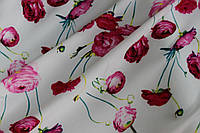 Ткань креп шифон-бабл белый цветы