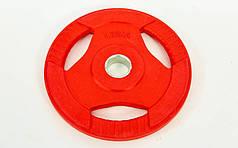 Блины обрезиненные с хватом для штанги фитнес памп BP3031 d-30мм 1,25кг  (отв. d-30мм,крас)