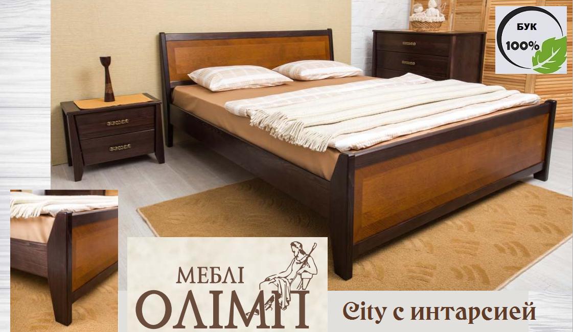 Двуспальная кровать City с интарсией