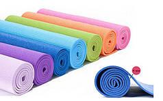 Коврик для фитнеса и йоги (Yoga mat) PVC 4мм  (1,73м x 0,61м x 4мм, цвета в ассортименте)