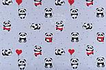 """Ткань хлопковая """"Панды в красных платьях"""" на сером фоне  №1272, фото 4"""