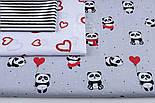 """Ткань хлопковая """"Панды в красных платьях"""" на сером фоне  №1272, фото 2"""