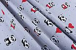 """Ткань хлопковая """"Панды в красных платьях"""" на сером фоне  №1272, фото 3"""