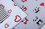 """Ткань хлопковая """"Панды в красных платьях"""" на сером фоне  №1272, фото 5"""