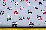 """Ткань хлопковая """"Панды в красных платьях"""" на сером фоне  №1272, фото 6"""