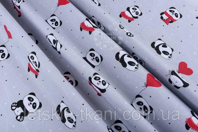 ткань бязь детская с пандами