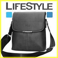 Стильная кожаная мужская сумка Polo (Есть 3 цвета) + Подарок! POLO, Сумка-планшетка/Полевая, Черный