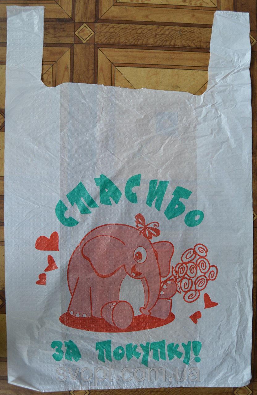 Пакет майка Слоник (100шт в упаковке) 36х58